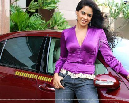Sameera Reddy Wearing Purple Tops Hot Pics