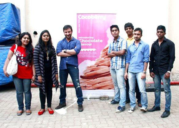 Photos of Saif Ali Khan meeting winners from Cocoberry Contest