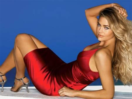 Denise Richards In Maroon Color Dress Sexy Still