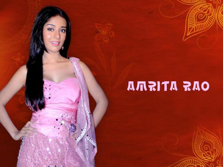 Amrita Rao Pink Dress Sizzling Wallpaper