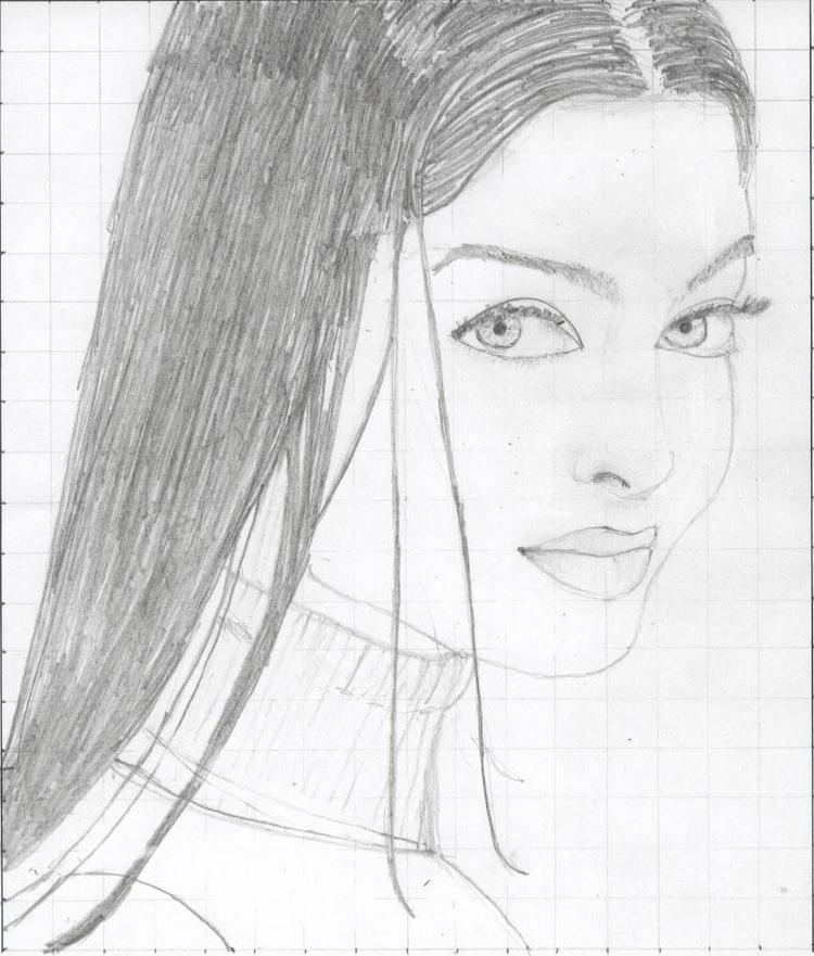 Aishwarya Rai Sketch Painting Photo