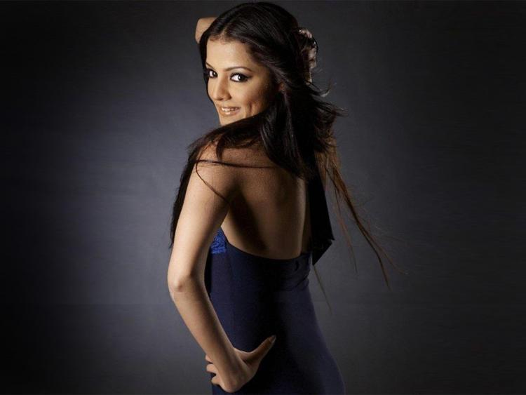 Celina Jaitley Sexy Back Exposing Wallpaper