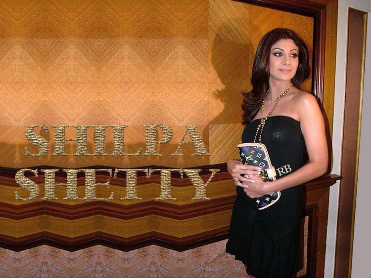 Shilpa Shetty Strapless Black Dress Hot Wallpaper