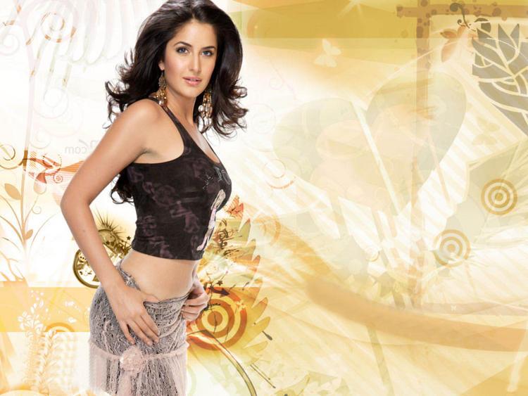 Katrina Kaif Sexy Belly Exposing Wallpaper
