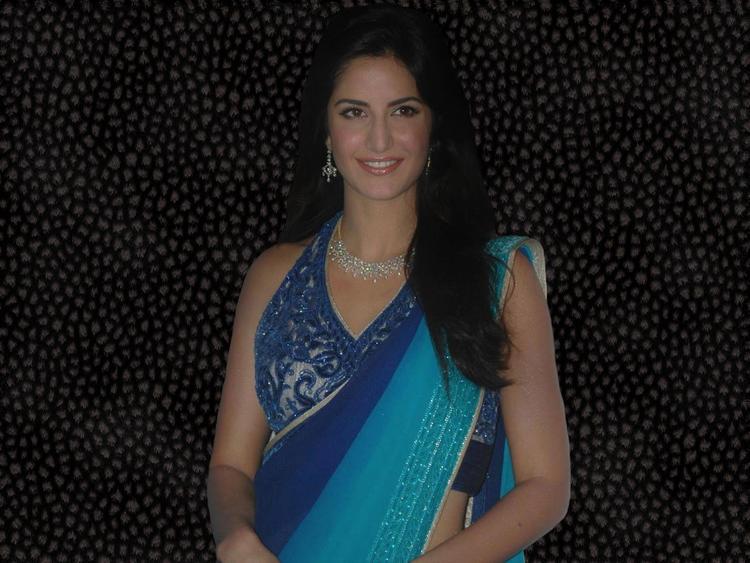 Katrina Kaif Sizzling Wallpaper In Saree
