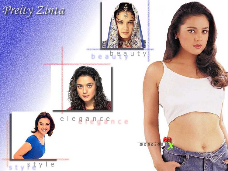 Preity Zinta Hot Navel Exposing Wallpaper