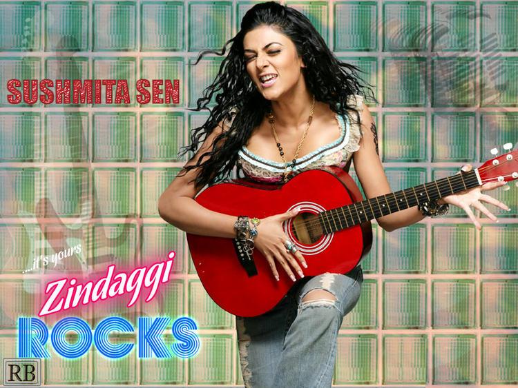 Sushmita Sen Rocking Wallpaper With Guitar
