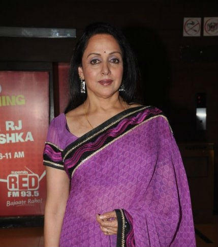 Hema Malini In Light Purple Saree Hot Pics