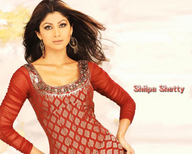 Shilpa Shetty Red Dress Nice Wallpaper