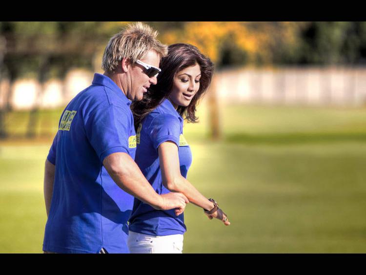 Shilpa Shetty With Shane Warne Nice Photo
