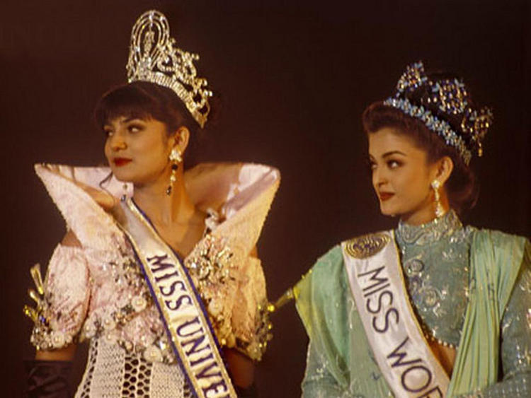 Former Beauty Queen Aishwarya Rai with Sushmita Sen Pic