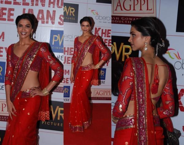 Deepika Padukone Red Saree Sexy Still