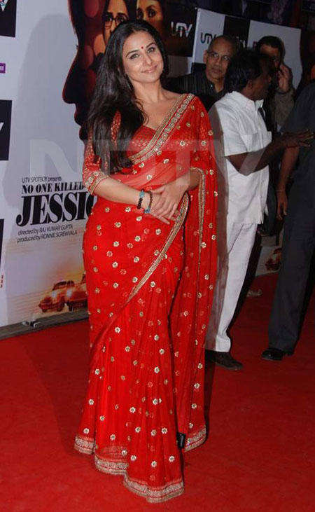 Vidya Balan Looking Beautiful In Red Saree