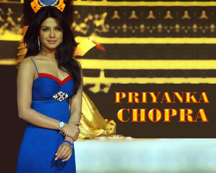 Priyanka Chopra Blue Dress Nice Wallpaper