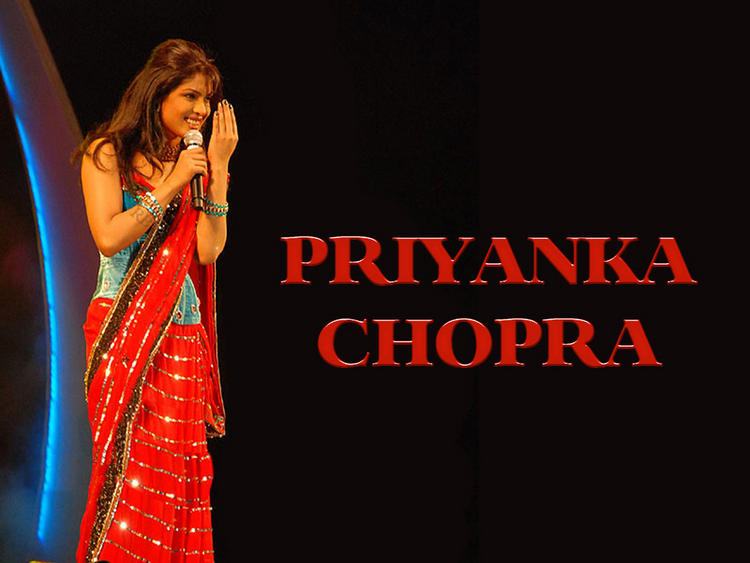 Priyanka Chopra Red Saree Latest Wallpaper