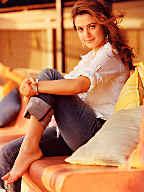 Preity Zinta Looking Very Beautiful In White Shirt and Jeans