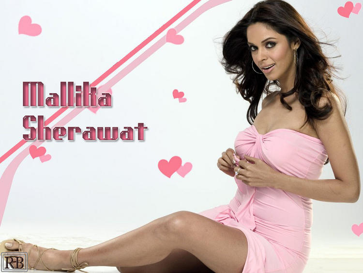 Actress Mallika Sherawat Pink Dress Hot Wallpaper
