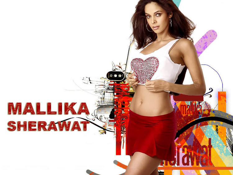 Mallika Sherawat Hot Navel Show In Mini Skirt