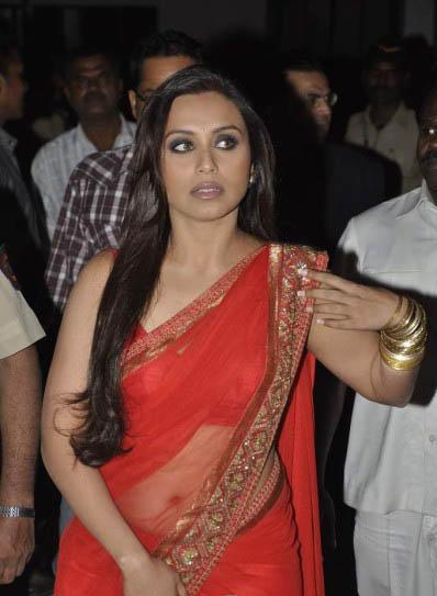 Rani Mukherjee Glamour Still In Red Transparent Saree