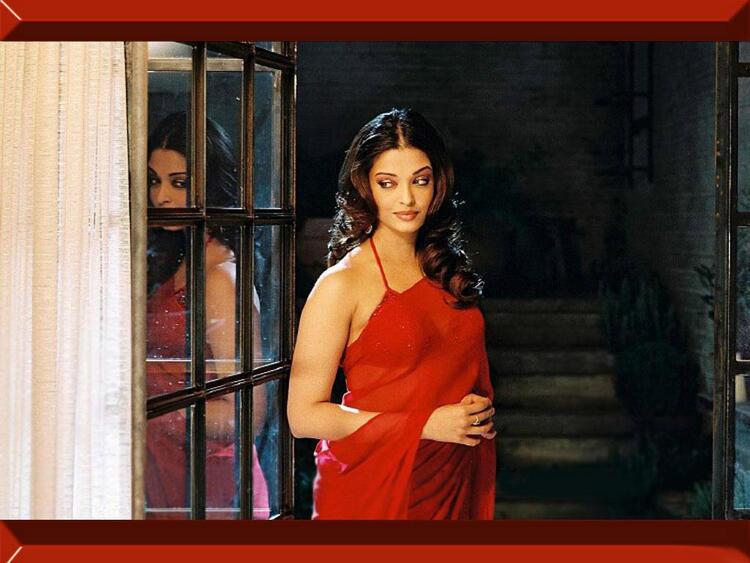 Aishwarya Rai Red Saree Hot Pics
