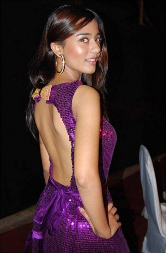 Amrita Rao Sexy Back Still In Violet Color Dress
