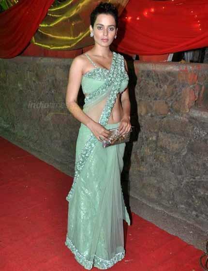 Kangana Ranaut Sexy Transparent Saree On Red Carpet