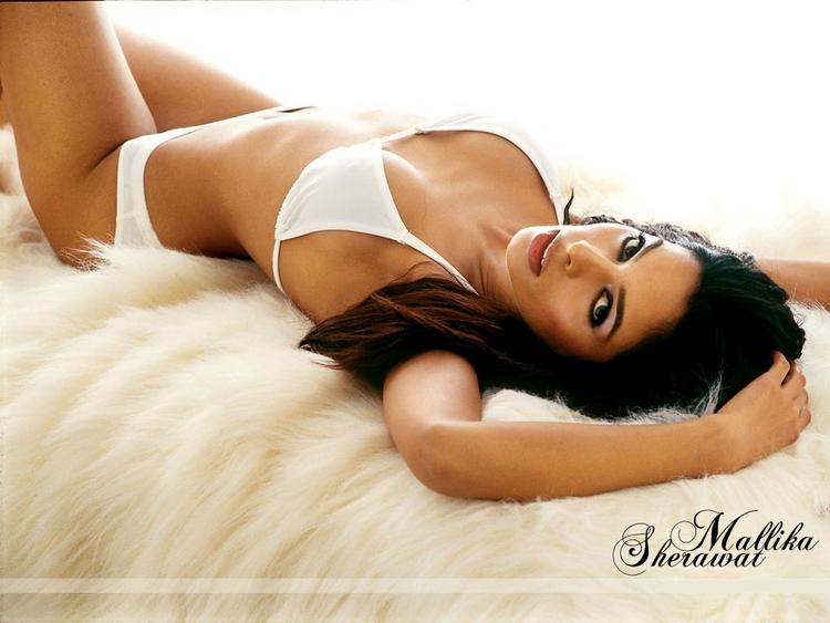 Mallika Sherawat In White Bikini Hottest Wallpaper