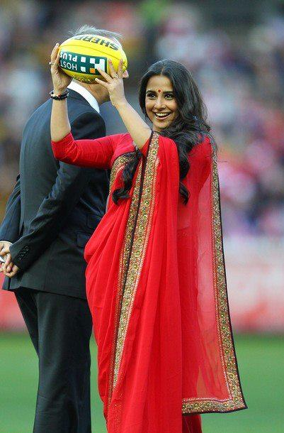 Vidya Balan Poses With Match Ball at Melbourne Cricket Ground