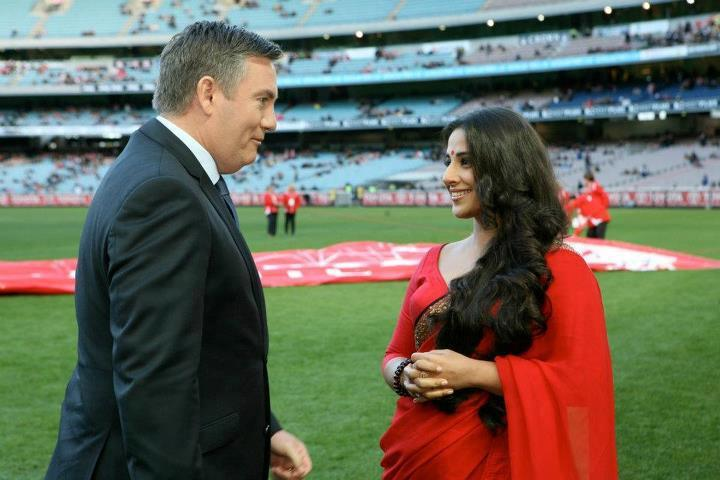 Vidya Balan In Red Saree at Melbourne Cricket Ground