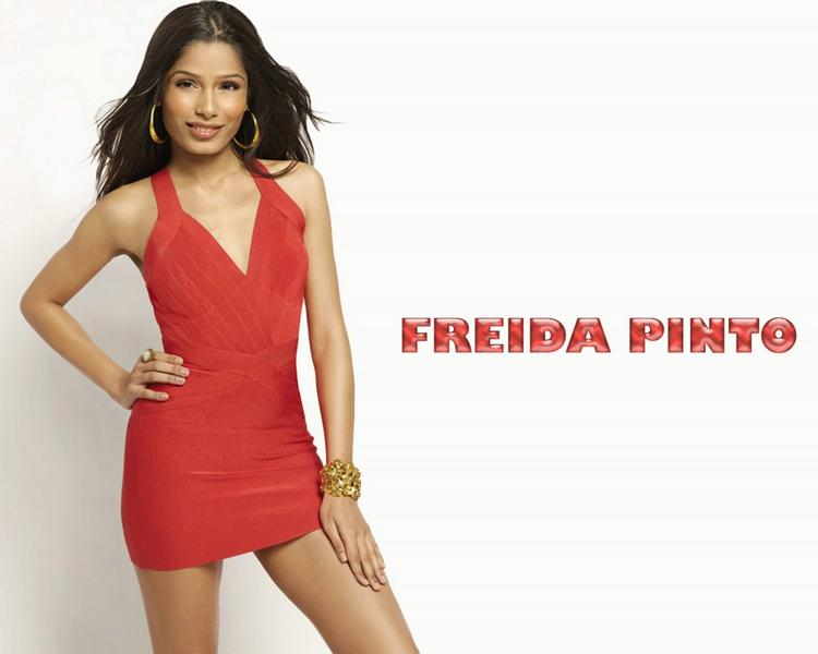 Freida Pinto Red Dress Sexy Pic