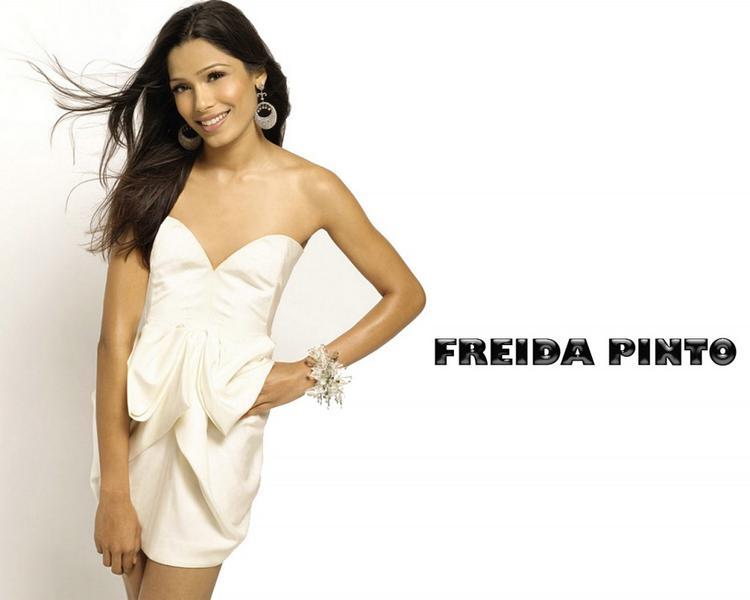 Freida Pinto Strapless Dress Sexy Wallpaper