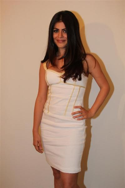 Shenaz Treasurywala White Short Dress Nice Pics
