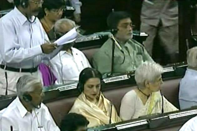 Rekha Sitting At Rajya Sabha