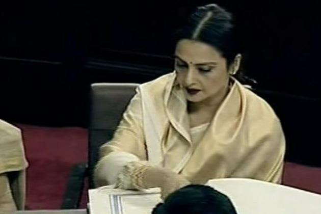 Rekha Takes Oath As Rajya Sabha Member