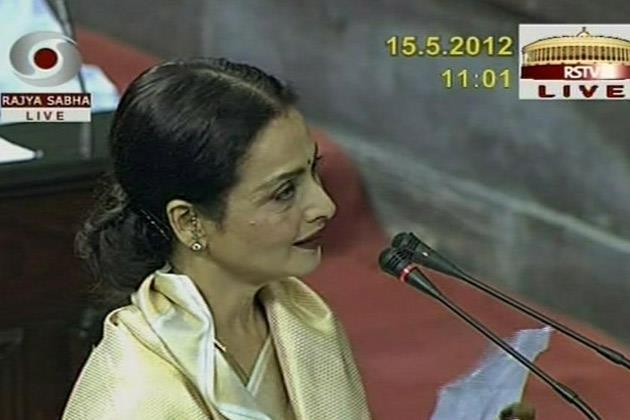 TV Showing The Footage While Rekha Takes Oath In Rajya Sabha MP