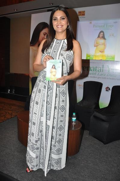 Lara Dutta Showing Her Yoga DVD