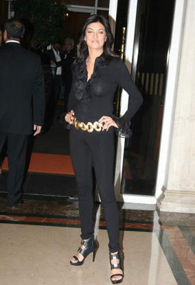 Sushmita Sen Black Shirt With Black Pant Smart Pics