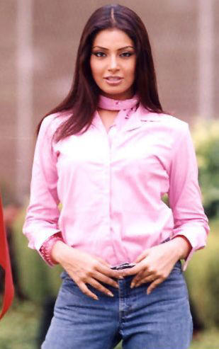 Bipasha Basu Sexy Look in Pink Shirt and Tight Jeans