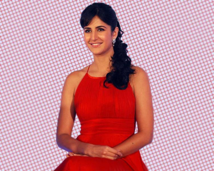 Katrina Kaif Cute Hair Style Pic In Red Dress