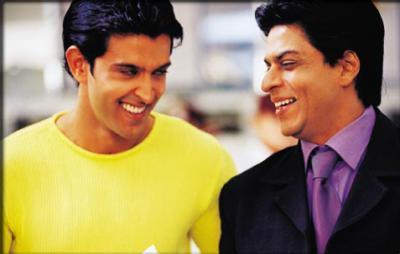 Hrithik and SRK Smiling Pic In Kabhi Khushi Kabhi Gham