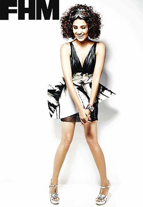 Lara Dutta FHM Magazine Cute Hot Photo Shoot In Curly Hair Style