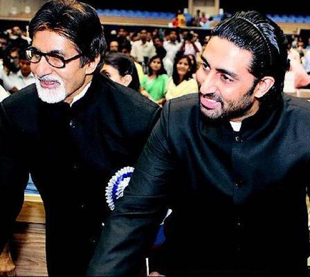 Abhishek Bachchan and Amitabh Bachchan Smiling Face Look Still