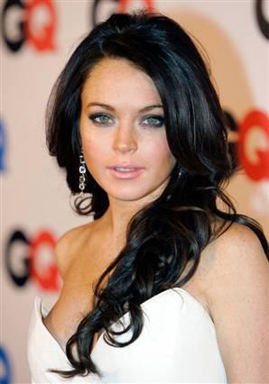 Lindsay Lohan Black Hair Glamour Still