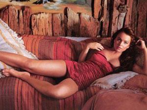 Lindsay Lohan Glossy Legs Pose Still