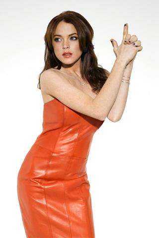 Lindsay Lohan Sexy Pose Photo Shoot In Orange Color Dress