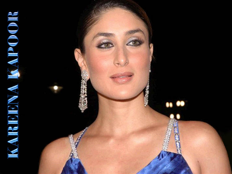 Kareena Kapoor Glamour Wallpaper In Blue Dress