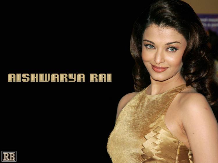 Aishwarya Rai Golden Color Dress Sexy Wallpaper