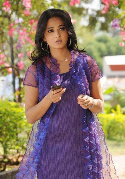 Anushka Shetty In Violet Color Dress Nice Pic