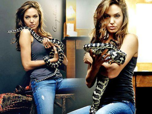 Angelina Jolie Poses With Snake For Photo Shoot
