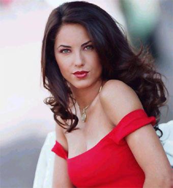 Barbara Mori Red Wet Lips Beauty Still